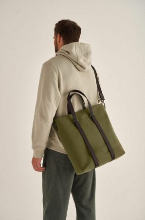 Mens Oroton Work Bags | Bailey Tote Army/Hickory