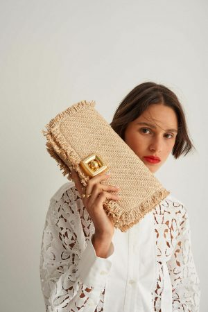 Womens Oroton Clutch Bags | Savin Collectable Day Bag Natural/Brandy