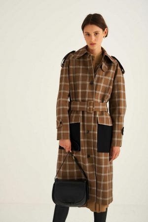 Womens Oroton Jackets And Outerwear | Check Trench Chocolate