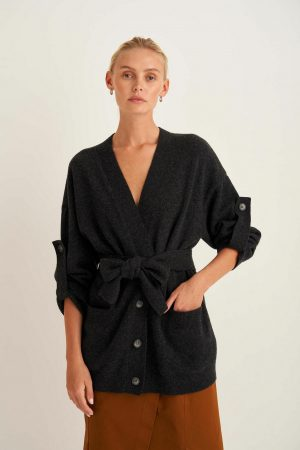 Womens Oroton Jackets And Outerwear   Knit Cardigan Dark Charcoal