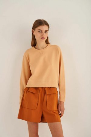 Womens Oroton Jackets And Outerwear | Relaxed Crew Knit Pale Mango