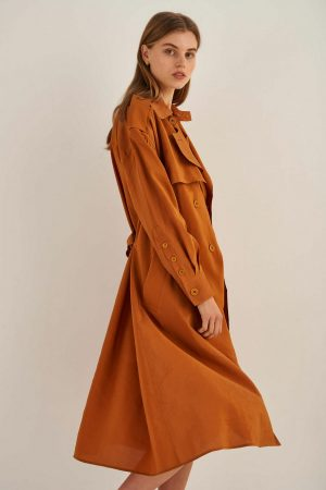 Womens Oroton Jackets And Outerwear | Soft Trench Tan