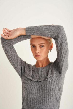 Womens Oroton Knitwear | Button Front Crew Knit Grey Marle