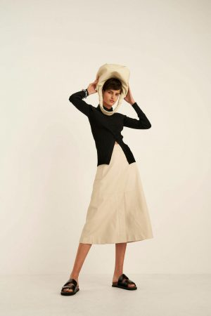 Womens Oroton Leather | Leather A-line Skirt Bone