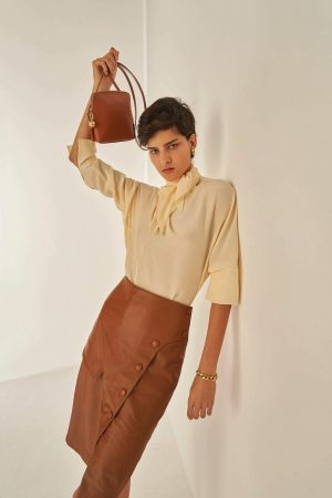 Womens Oroton Leather | Leather Skirt Cognac