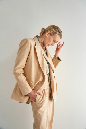 Womens Oroton Suiting | Double Breasted Blazer Pink Sand