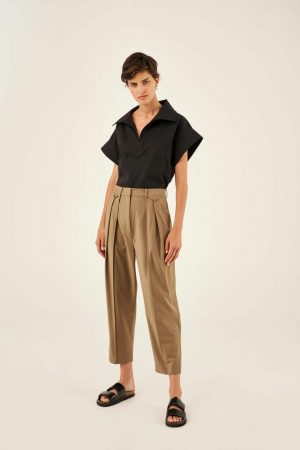 Womens Oroton Suiting   Pleat Pant Tobacco