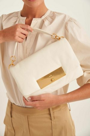 Womens Oroton Top Handle Bags | Heath Day Bag Clotted Cream