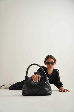 Womens Oroton Work Bags | Muse Quilting Small Day Bag Black